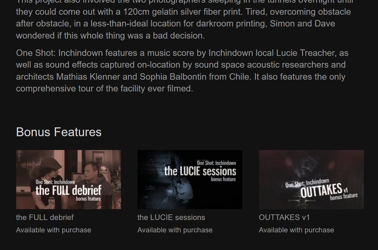 One Shot: Inchindown bonus features on Vimeo
